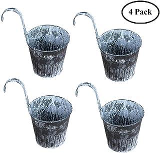 macetas colgantes de flores de metal jardín al aire libre macetas baldosas colgante de pared de la vendimia cubo de la planta cubo de barril para la valla de barandilla balcón decoración 4 unids