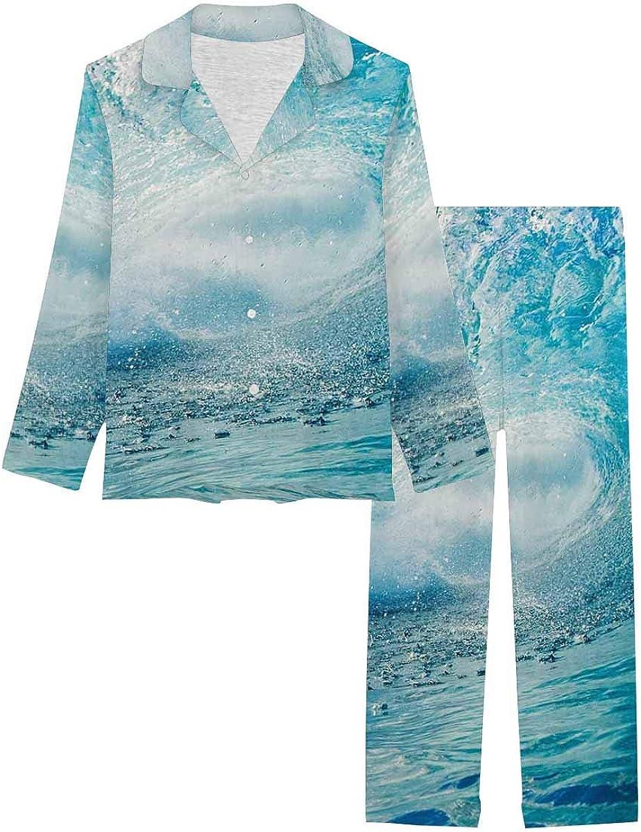 InterestPrint Notch Collar Loungewear Sleepwear Soft Nightwear for Women Big Blue Wave