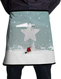 Lao Yang Mai Santa Claus with A Star Shaped Balloon BBQ Waiter Housekeeper Pet Grooming Bartender Kitchen Beautician Hairstylist Nail Salon Carpenter Shoeing Wood Painting Artist Pocket Half Apron