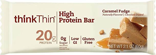 think! (thinkThin) High Protein Bars - Caramel Fudge, 20g Protein, 0g Sugar, No Artificial Sweeteners**, Gluten Free, GMO Free*, 2.1 oz bar (10 Count - Packaging May Vary)
