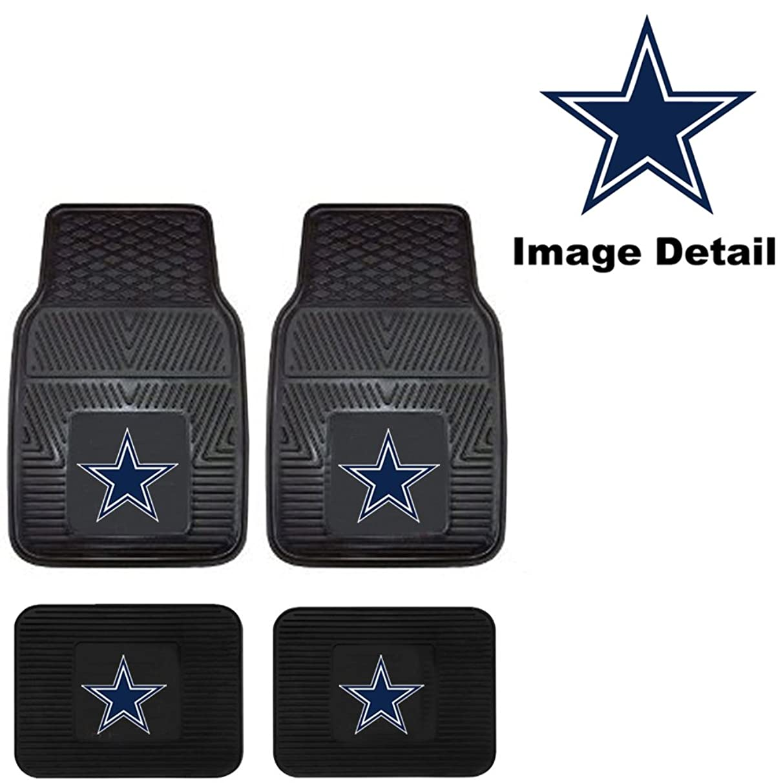 Front & Rear Car Truck SUV Floor Mats Heavy Duty Vinyl - NFL Football - Dallas Cowboys by Fanmats