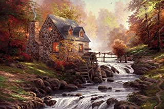 Yingxin34 Water Mill Hut The Wooden Puzzle 1000 Pieces Version Jigsaw Puzzle White Card Adult Children's Educational Toys
