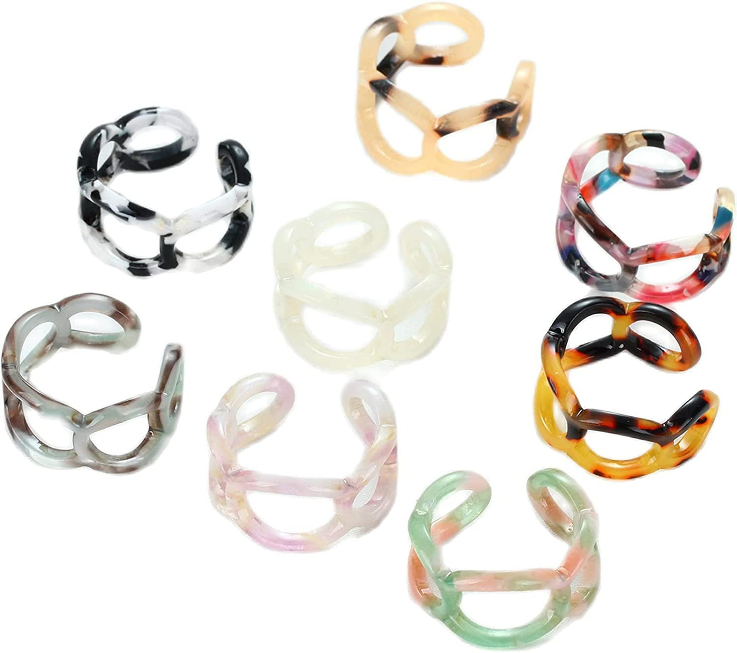 caiyao 8 Pcs Colorful Leopard Print Heart Flower Link Chain Shape Open Knuckle Stackable Joint Acrylic Resin Chunky Band Finger Ring Set Jewelry for Women Girls