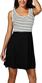 VESKRE Women's Striped Boho Maxi Dress Summer Tank Tops Sleevelesss Casual Beach Vest Sundress