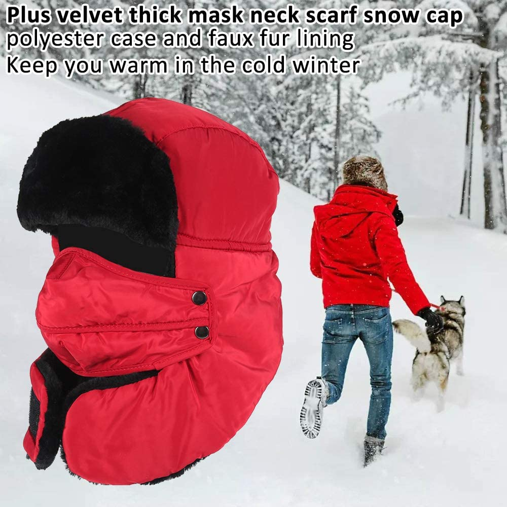 Lei Feng Hat Unisex Winter Ear Flap Trapper Bomber Hat Trooper Keeping Warm Double-Layer Windproof Hat Thicken Warm Hat for Outdoor Skating Skiing Riding or Other Outdoor Activities