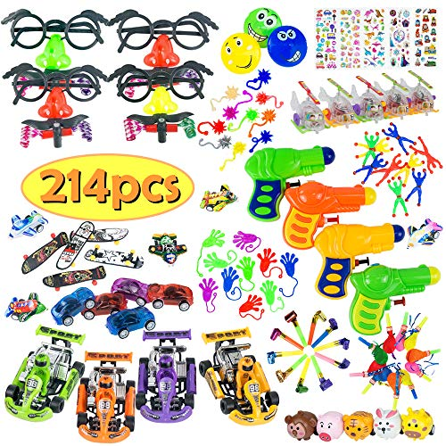 JAT RRBD 214Pcs Party Favors for Kids,Pinatas Suffers Assortment for Birthday Party,Prize Box Bulk Toys for Classroom Rewards,Carnival Prizes,Treasure Box for Boys and Girls,Goodie Bags Fillers