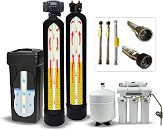 Fleck 5600SXT 64,000 Grain Water Softener System with Digital Meter, Brine Tank, Carbon Filter, Quick Adapters, RO System (Ultimate Kit.)