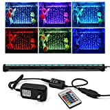 KAPATA Aquarium Bubble Light , Fish Tank Light Underwater LED Lighting with 24key Controller 16 Colors and 4 Color Changing Modes for Fish Tank 52CM/21inch