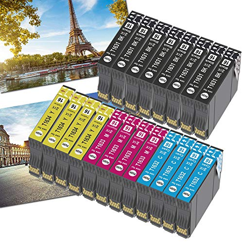 OGOUGUAN - Cartuchos de tinta 16XL para impresoras Workforce WF-2750DWF WF-2630WF WF-2010W WF-2520NF WF-2530WF WF-2540WF WF-2650DWF y WF-2660DWF (20 unidades)