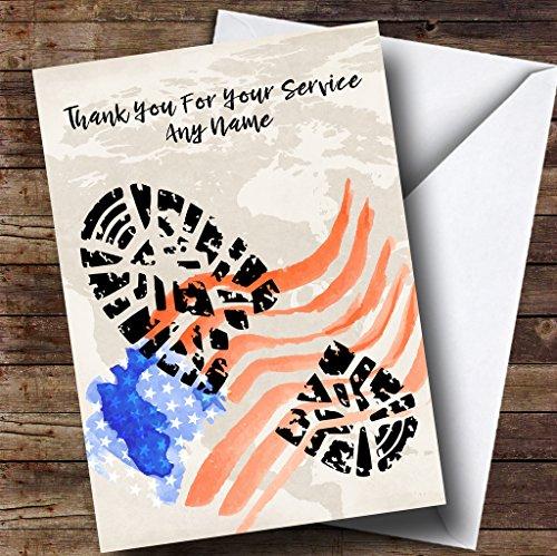 Militaire Boot Print & Amerikaanse Vlag Aangepaste Pensioen Groeten Kaart