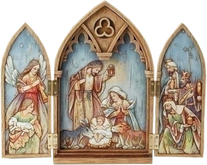 11.25  Wood Look Triptych Holy Family, Kings, Angel, Shepherds by Roman