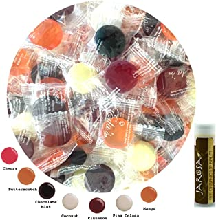 Eda's Sugar Free Hard Candy BOARDWALK MIX 2 Pounds Edas Bagged with Butterscotch, Cherry, Cinnamon, Coconut, Chocolate Mint, Mango & Pina Colada with a Jarosa Chocolate Bliss Lip Balm