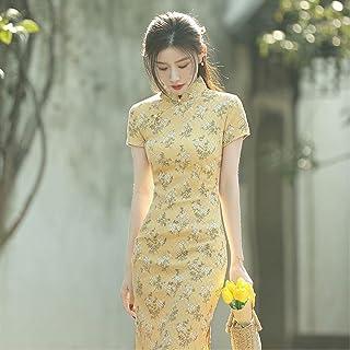 Chinese Style Ladies Printed Floral Cheongsam Dress Retro Ladies Split Robe Dress Xxl