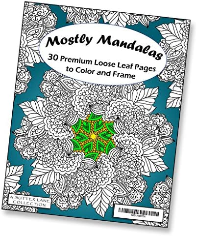 Mostly Mandalas Adult Coloring Book 30 Loose Leaf Pages to Color and Frame product image