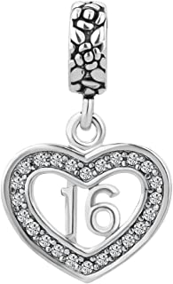 LuckyJewelry Rhinestone Sweet Birthday Dangle Heart Charms Bead fit Pandora Style Bracelet Sale