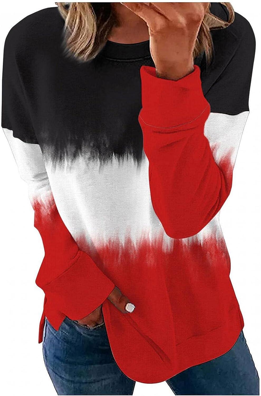 Haheyrte Womens Sweatshirts Lightweight Color Block Short Long Sleeve Loose Fit Tunics Shirts Tops