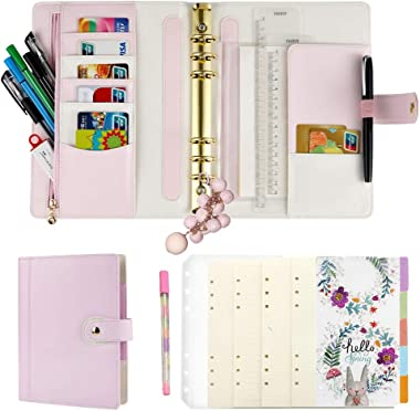 Harphia A5 Planner Binder Refillable Personal Organizer with Accessories, 6 Ring Planner Binder Softcover Calendar Light Pink
