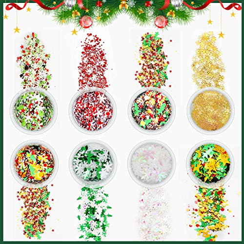 JOYJULY Christmas for Nails, 8 Boxes Christmas Nail Glitter Mix Snowflake Sequins for Nail Art Holographic Laser Nail Glitter with Pickup Tools for Nails Design, Face, Make Up, Jewelry Decorations