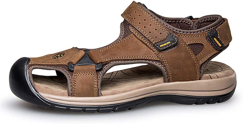 ANNFENG 2019 Mode Sommer Outdoor Herren Schnalle Schnalle Casual Sandalen Strand Schuhe Klettverschluss Leder Upper Closed Toe (Farbe   Braun, Größe   45 EU)  große rabattpreise