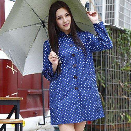 Vestes anti-pluie QFF Femelle Imperméable Mode pour Adultes Longue Section à Pied Poncho Waterproof Lovely Windbreaker (Couleur : Bleu)
