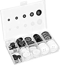 136 PCS Mixed Resin Sewing Buttons, Eco-Friendly 1 inch Buttons with Compartmentalized Storage Box Black Buttons, 4 Holes ...