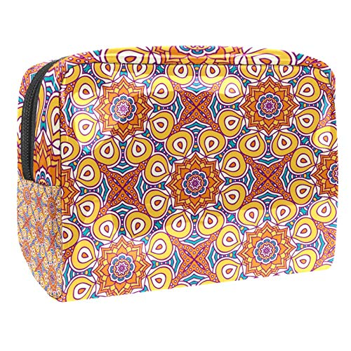 Portable Makeup Bag with Zipper Travel Toiletry Bag for Women Handy Storage Cosmetic Pouch Colored Mandala