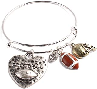 Sports Charm Adjustable Wired Bangle Bracelet - Game Day Team Wire Cuff Softball, Soccer, Football, Mom Pendant