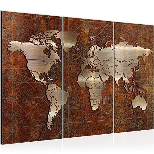 Runa Art Weltkarte Bild Wandbilder Wohnzimmer XXL Braun Antik Vintage 120 x 80 cm 3 Teilig Wanddeko 109031a