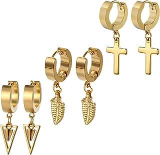 Golden George 3-6 Pairs Cross Dangle Hinged Hoop Earrings for Men and Women Gold Stainless Steel Punk Hip-hop Ear Piercing Earrings, Hypoallergenic