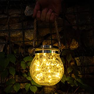 UcaseArt Outdoor Pendant Lighting Holiday Lamp Party Garden Hanging Crackle Glass Ball Solar Sunlight Led Garden Lights Ou...