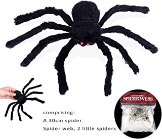 si ying Simulation Fluffy Spider, Haunted House Props, 30cm Spider Toys for Children, Prank, Prop, Gardens, Party Favors, Halloween & Decorations ( Black )
