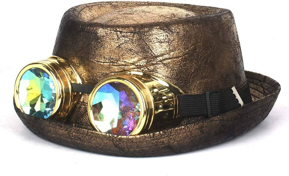 ZRZZUS Brand Cheap Sale Venue 100% Leather Fedora Hat Men Gold Flat High quality To Gear Glasses