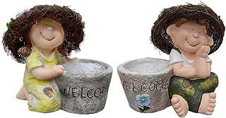 التماثيل الخارجية حديقة حديقة شرفة النحت الشخصية الكرتونية حديقة روضة الأطفال ديكور وعاء الزهور (اللون: رمادي، الحجم: زوجين)
