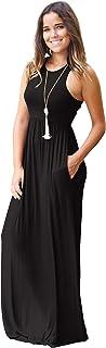 Minma Women Sleeveless Tunic Maxi Dress Racerback Plain Swing Maxi Dresses Casual Long Dress with Pockets