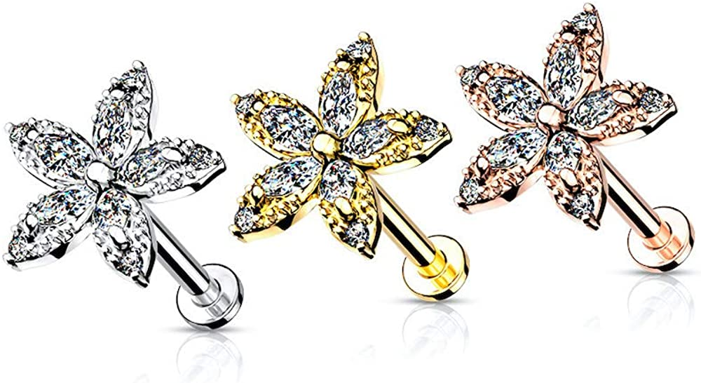 Covet Jewelry Marquise CZ Flower Top on Internally Threaded Surgical Steel Flat Back Studs for Labret, Monroe, Cartilage, and More