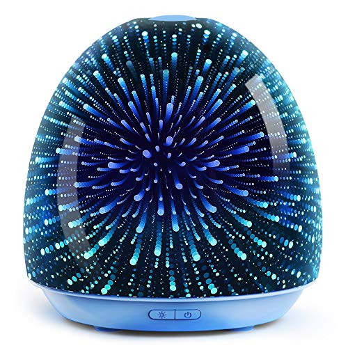 ASAKUKI Essential Oil Diffuser, 3D Glass 200ml Galaxy Premium Ultrasonic Cool Mist Humidifier, Waterless Auto Shut-off for Home Spa-room and Baby-room
