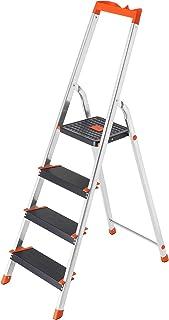 comprar comparacion SONGMICS Escalera de 4 Peldaños, Escalera de Aluminio con Peldaños de 12 cm de Ancho, Escalera Plegable con Bandeja y Pies...