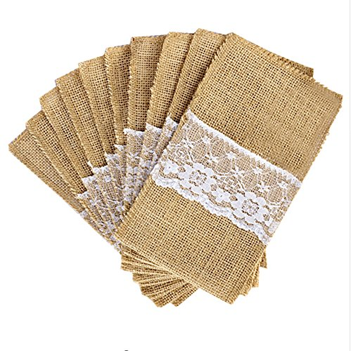 May's Big Day 4x8 Inch Burlap Cutlery Holder Pouch with Lace, Pack of 50 for Thanksgiving Christmas Wedding Dinner (50)