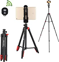 Phone Tripod-ZOMEi 53-Inch Lightweight Aluminum Travel Selfie Tripod with Smartphone Holder and for ipad Mobile Phone-Black
