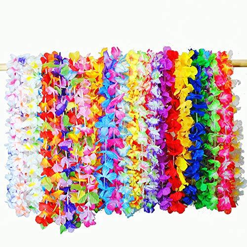 byou Ghirlanda di Fiori Hawaiana,Collana con Fiore Hawaiano 36 Pezzi Multicolori Fiori Artificiali Tropicali per Luau Hawaiian Beach Party Supplies Decor