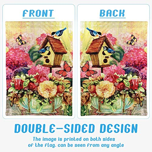 Cokosoxo Spring Garden Flag Blue Birds and Beautiful Butterfly Birdhouse Flowers Spring Summer Banner Decorative House Flags for Home Lawn Yard Indoor Outdoor Decor 12x18