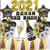 2021 Decoraciones de Año Nuevo,33 Piezas Feliz Año Nuevo Banner Globos de Látex,Feliz Año Nuevo Decoraciones de Fiesta,Kit de Decoración de Fiesta Negro Dorado,para Año Nuevo,Fiesta de Graduación