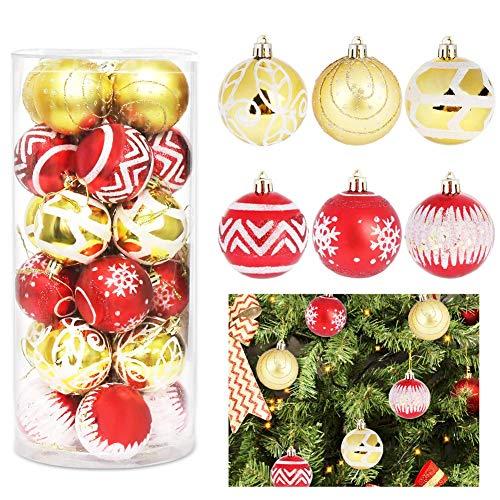 HOSPAOP Weihnachtskugeln, Weihnachtskugeln Kunststoff 24 Stücke, Weihnachtsbaumkugeln Christbaumkugeln Kunststoff, HIBOER 6cm Weihnachtsbaum Deko Kugeln Set für Weihnachten Dekoration Party Hochzeit