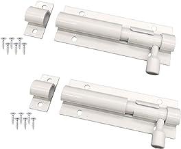 Modieuze deurvergrendeling, wit, 2 stuks, 88 x 25 mm, roestvrijstalen boutgrendel, schuifslot voor huisdeur en tuindeur