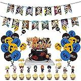 Naruto Globos De Anime, 50Pcs Juego De Fiesta Temática De Naruto Anime Japonés Feliz Cumpleaños Banner Globo Tarjeta De Pastel Fiesta Combinada Para Niños Decoración De Tartas De Fiesta