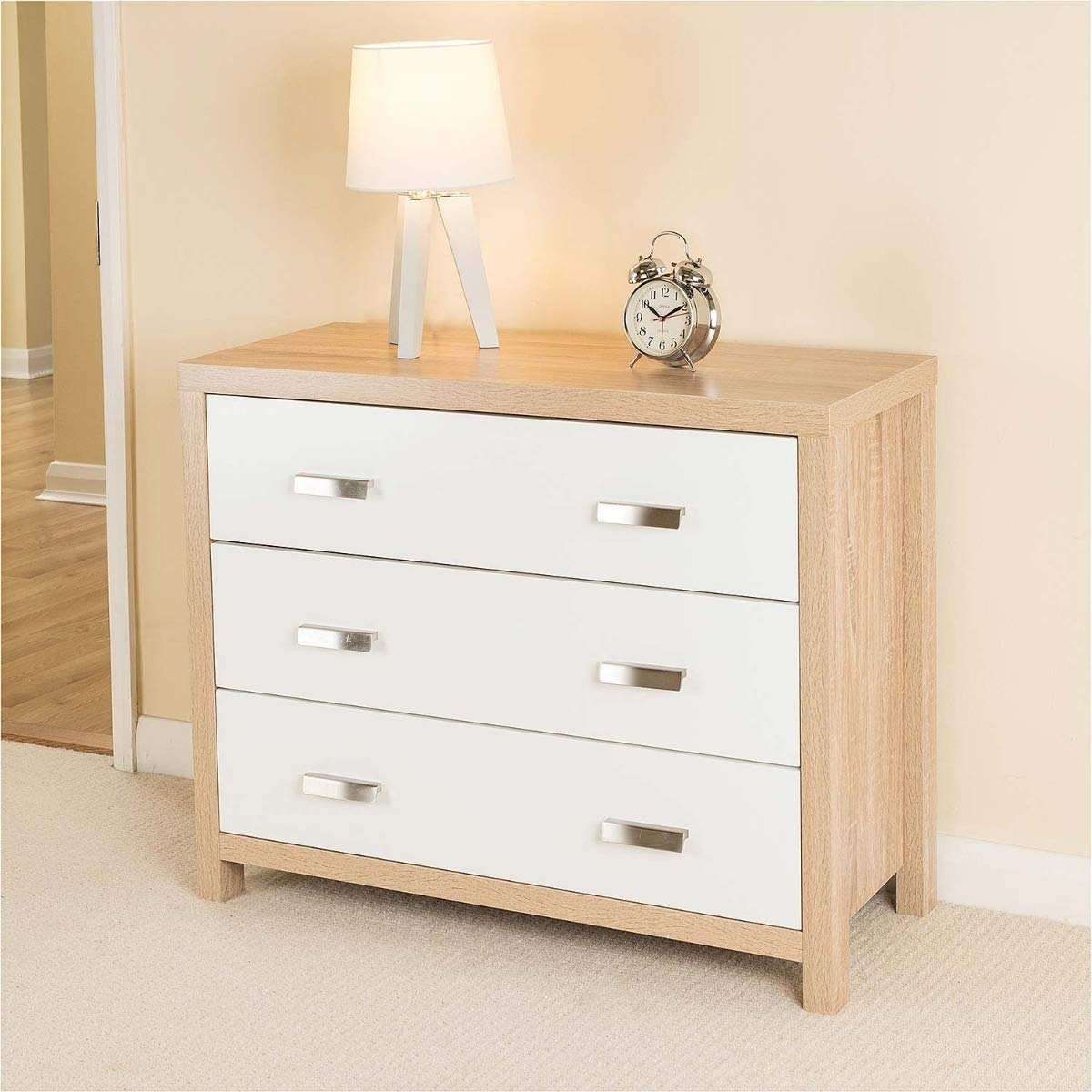 CHRISTOW Bianco Oak Effect White Wood 15 Drawer Chest of Drawers Modern  Bedroom Furniture