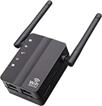 Ksera Wi-Fi Range Extender - 300Mbps, WiFi Repeater,WiFi Signal Booster, Compact Designed Internet Booster with 2 External Antennas and 2 Ethernet Port,Access Point Easy Set-Up (Black)