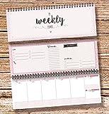 'My Weekly Planer rosa' Tischkalender/Wochenplaner im Quer Format / 52 Wochen, 1 Woche auf 2 Seiten/Ohne Datum für 365 Tage/Wochenkalender 2017 To do Liste Einkaufsliste Jahresübersicht