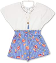 Speechless Girls' Big Romper with Paper Bag Waist & Necklace