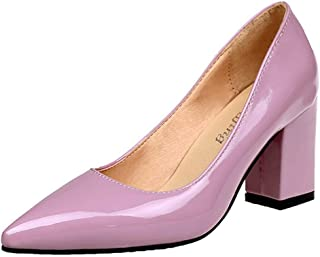 HANBINGPO New Women Pumps Black High Heels 7.5cm Lady Patent Leather Thick with Autumn Pointed Single Shoes Female Sandals Big 33-43,Pink,11